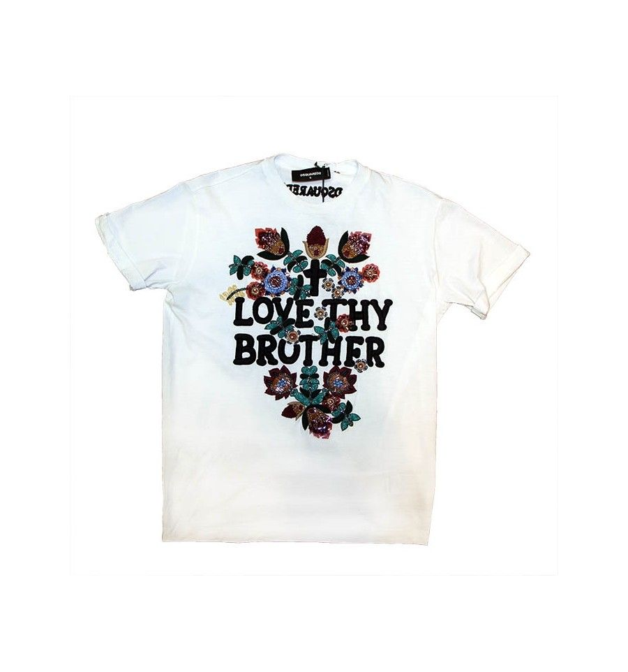 big boss achat tshirt blanc dsquared broderies fleuries. Black Bedroom Furniture Sets. Home Design Ideas